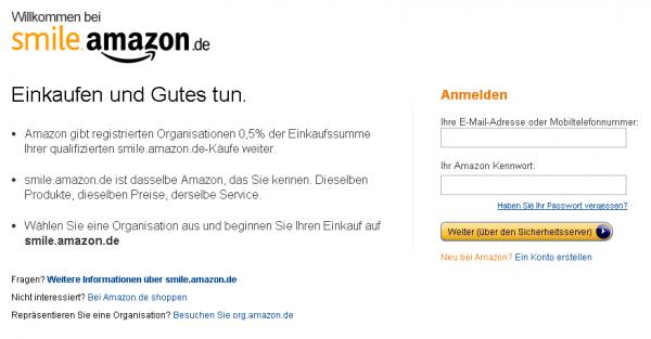Smile Amazon – einkaufen und dabei Gutes tun